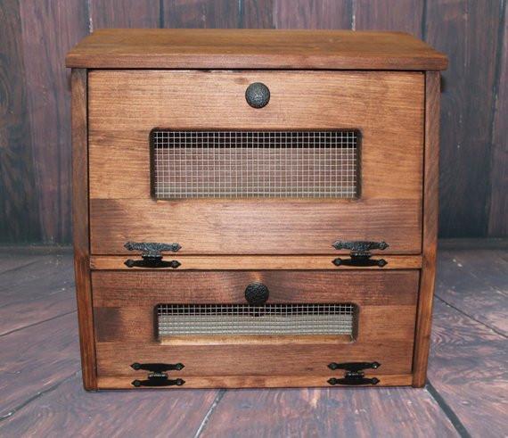 Potato Storage Bin  Wood Bread Box wooden Rustic Ve able Potato Bin Storage