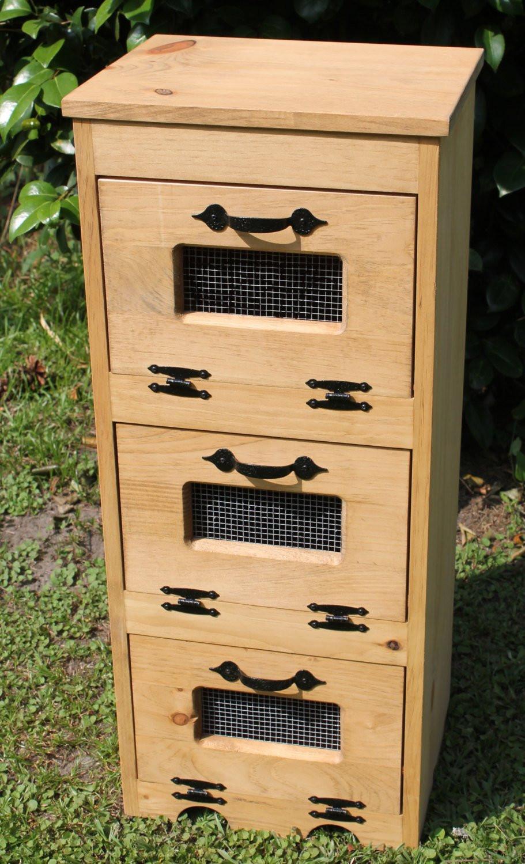 Potato Storage Bin  Wood Ve able Bin Potato Storage Rustic Cupboard Primitive