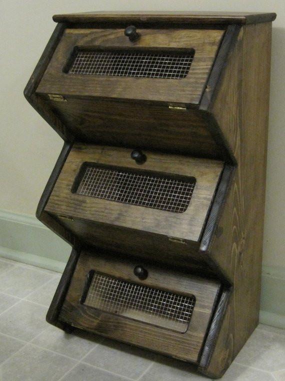 Potato Storage Bin  Counter Top Rustic Ve able Bin Storage Cupboard Primitive