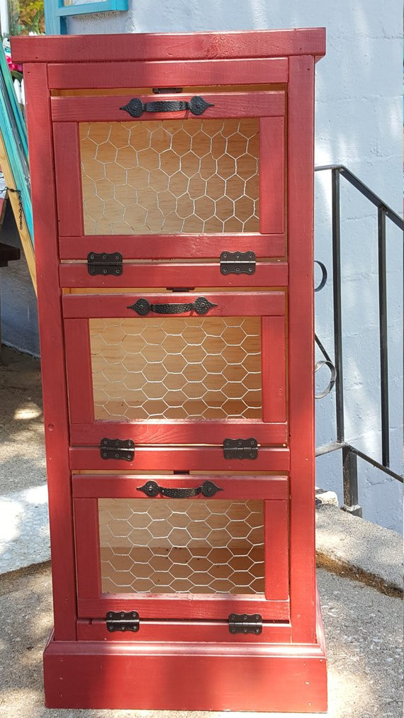 Potato Storage Bin  Ve able Bin 3 Door Kitchen Pantry Organizer and Storage