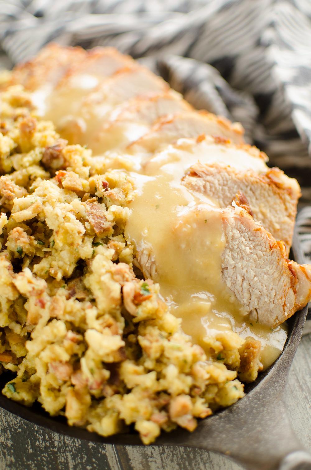 Pressure Cooker Pork Loin  Pressure Cooker Pork Loin Stuffing & Gravy