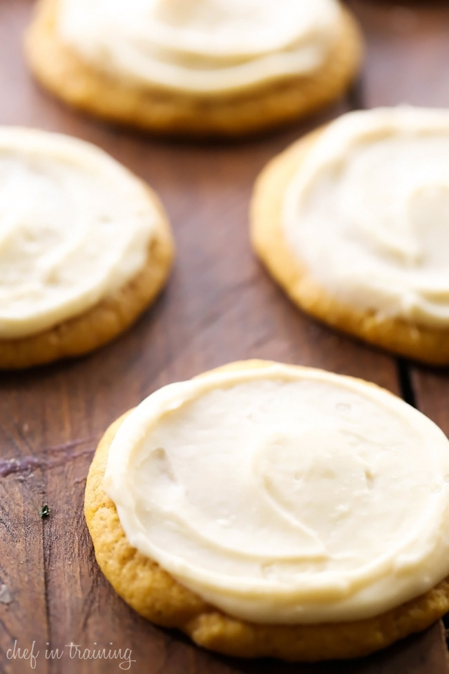 Pumpkin Cookies With Cream Cheese Frosting  Soft Pumpkin Sugar Cookies with Caramel Cream Cheese