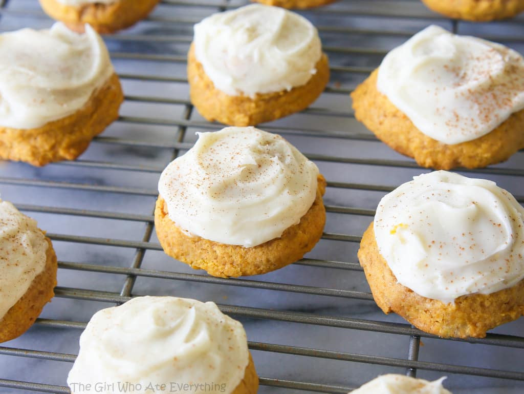 Pumpkin Cookies With Cream Cheese Frosting  Melt In Your Mouth Pumpkin Cookies The Girl Who Ate
