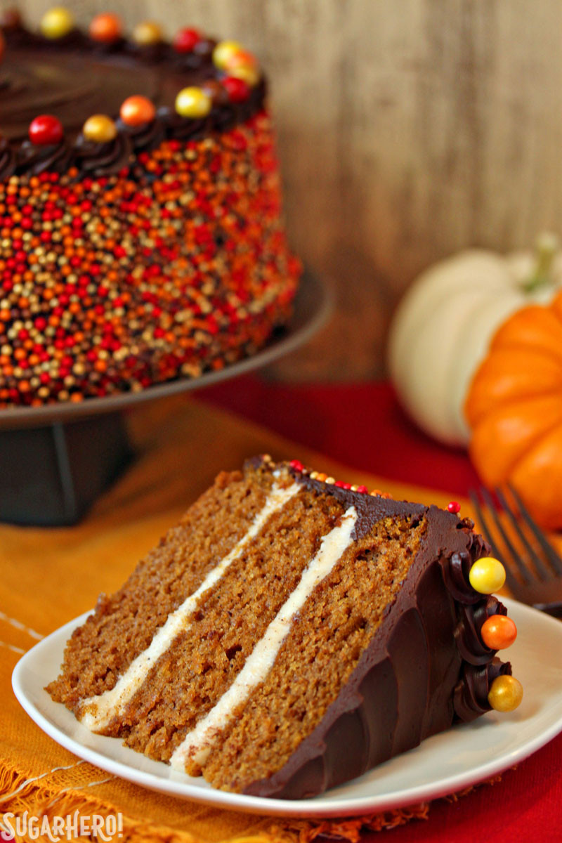 Pumpkin Layer Cake  Pumpkin Layer Cake with Chocolate Sour Cream Frosting