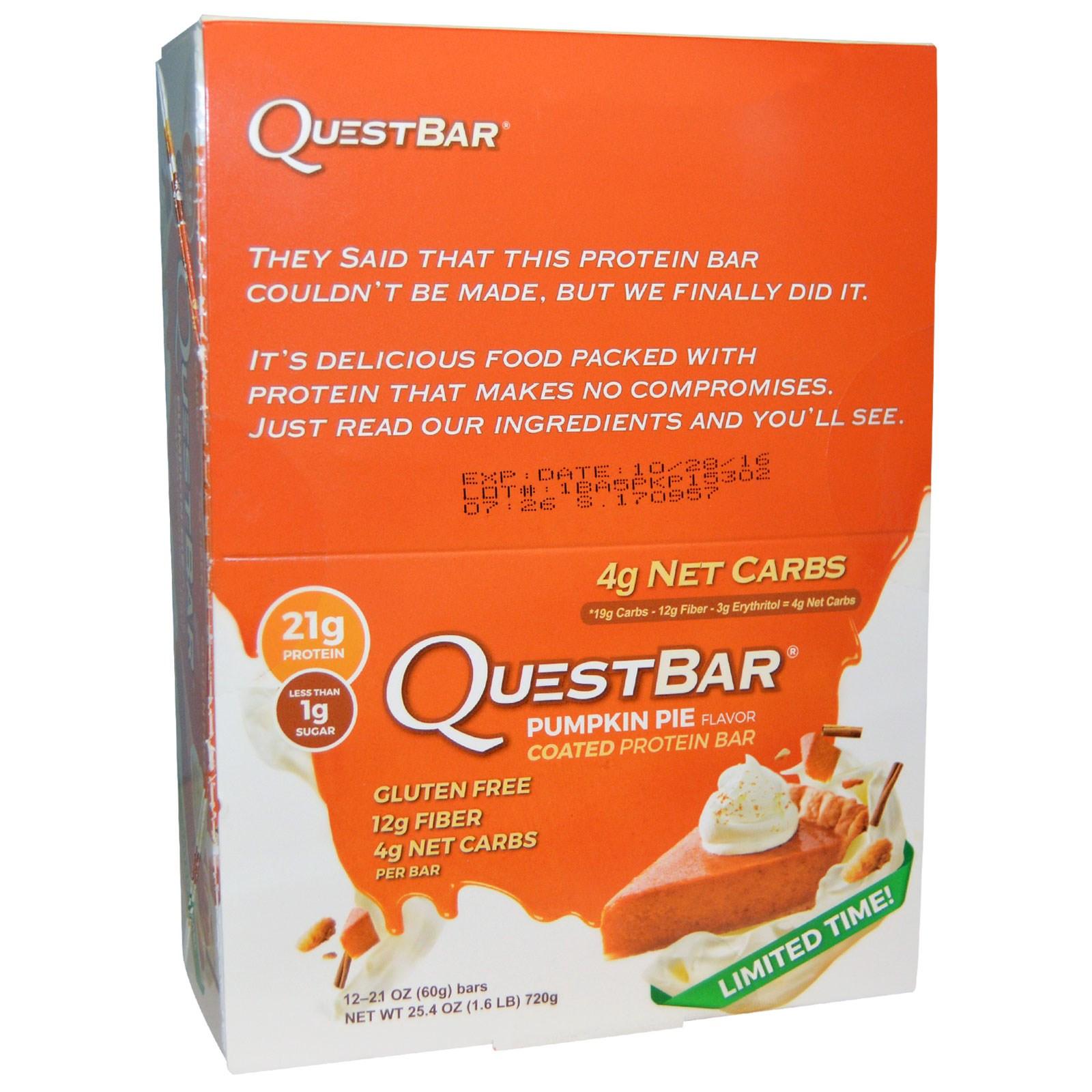 Pumpkin Pie Nutrition  Quest Nutrition Coated Protein Bar Pumpkin Pie Flavor