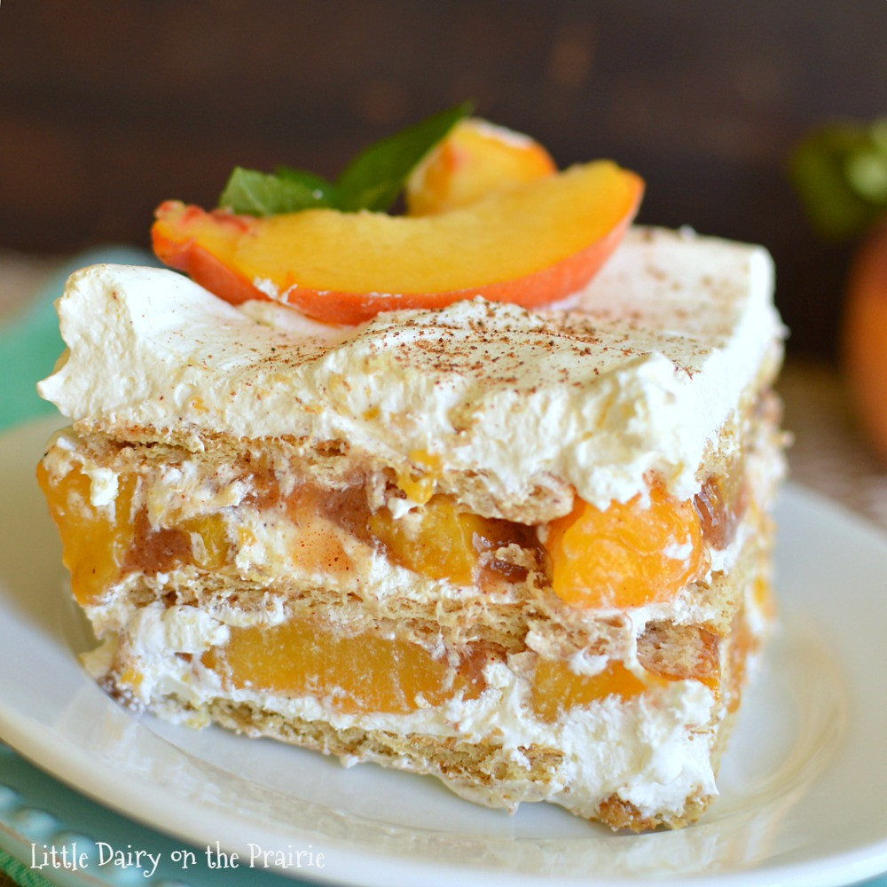 Quick And Easy Desserts  No Bake Peach Icebox Cake Little Dairy the Prairie