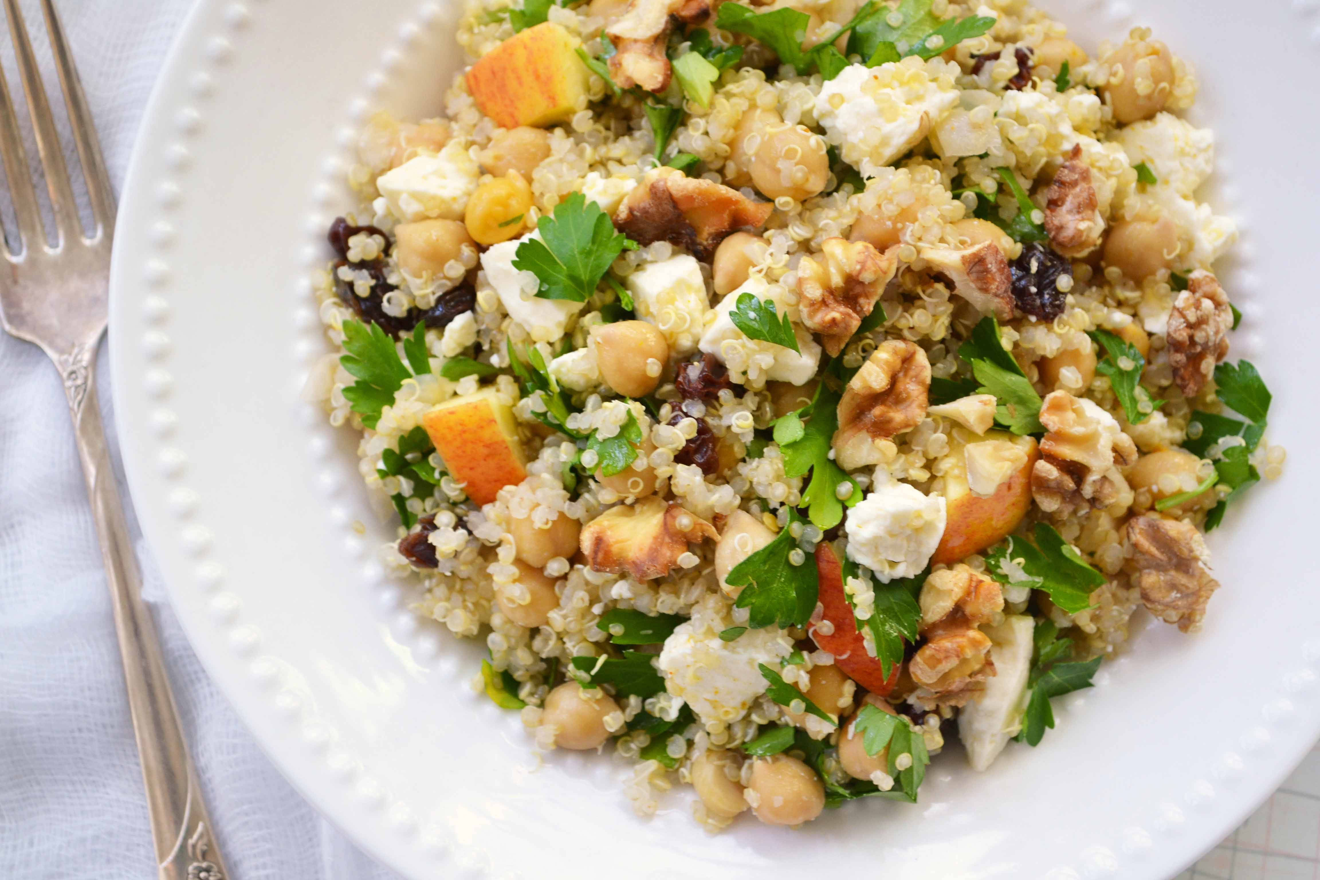 Quinoa Salad Recipes  Quinoa Salad with Chickpeas Feta and Apples Dinner With