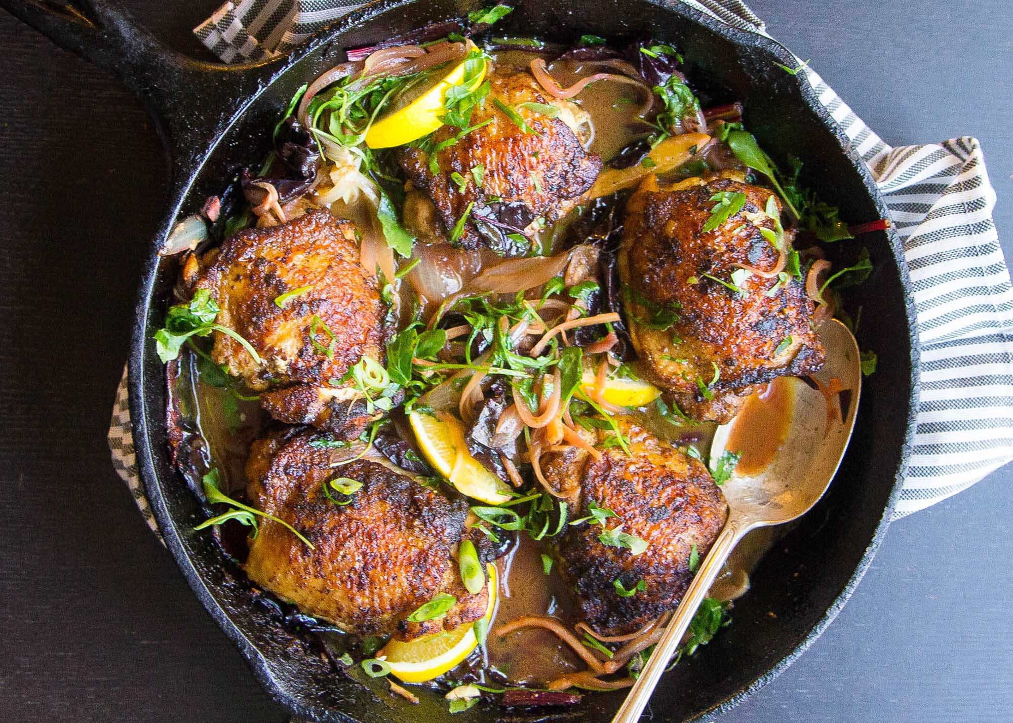 Recipe For Chicken Thighs  Crispy Curried Chicken Thighs with Wilted Greens Recipe