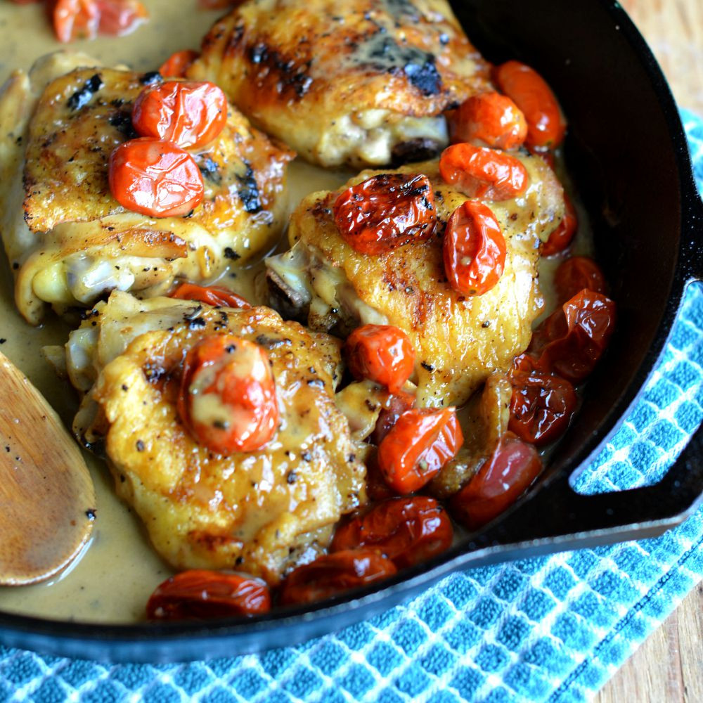Recipe For Chicken Thighs  Chicken Thighs with Blistered Tomatoes