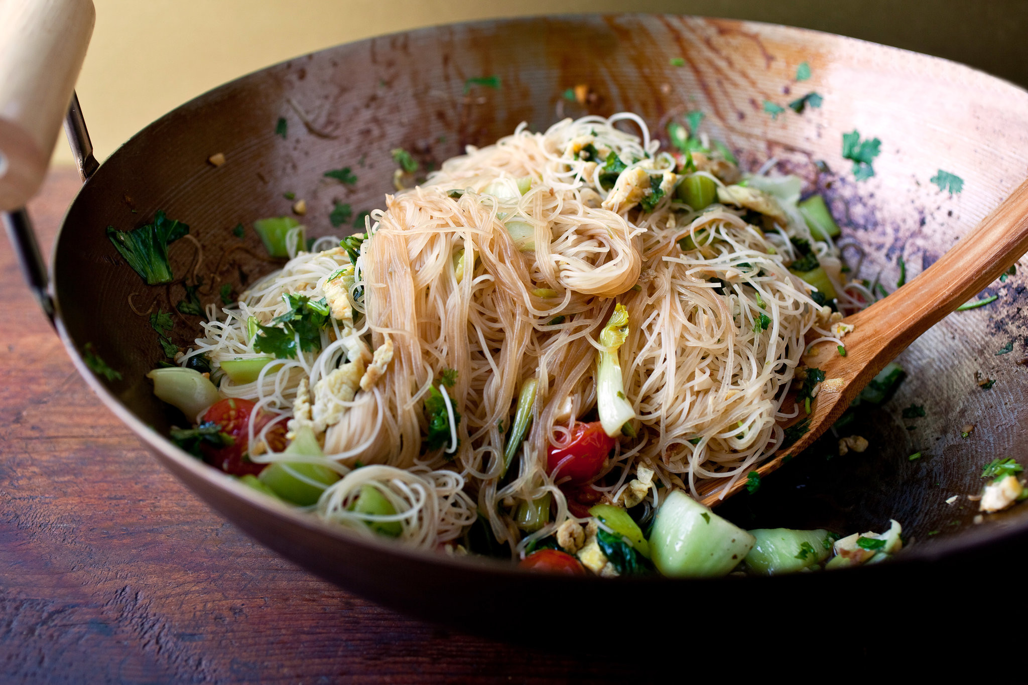 Recipes With Rice Noodles  Stir Fried Rice Stick Noodles With Bok Choy and Cherry