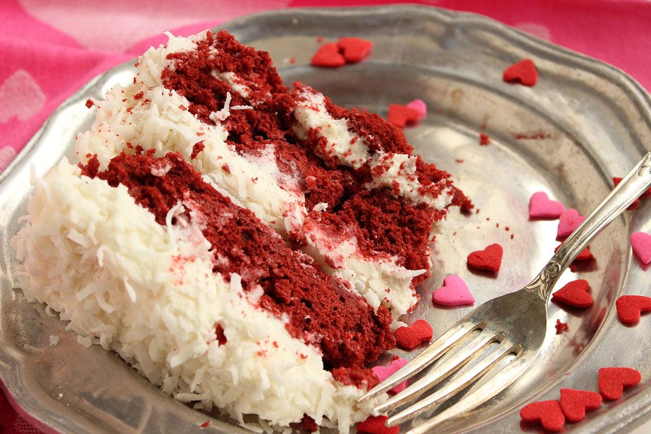 Red Velvet Cake Icing  Red Velvet Coconut Cake with Coconut Cream Cheese Frosting