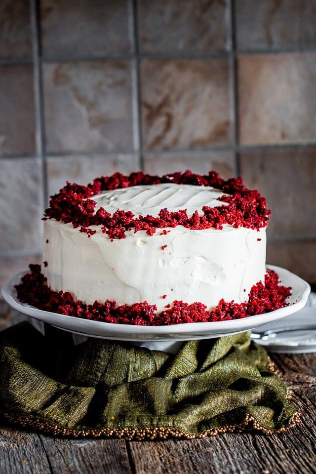 Red Velvet Cake Icing  Red Velvet Cake With Cream Cheese Icing Recipe — Dishmaps
