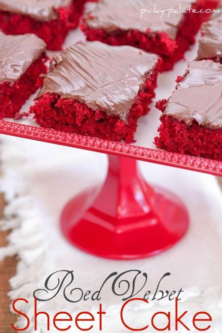 Red Velvet Sheet Cake  Red Velvet Sheet Cake with Nutella Fudge Icing Picky Palate