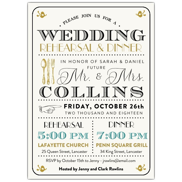 Rehearsal Dinner Invites  Typography Mix Rehearsal Dinner Invitations