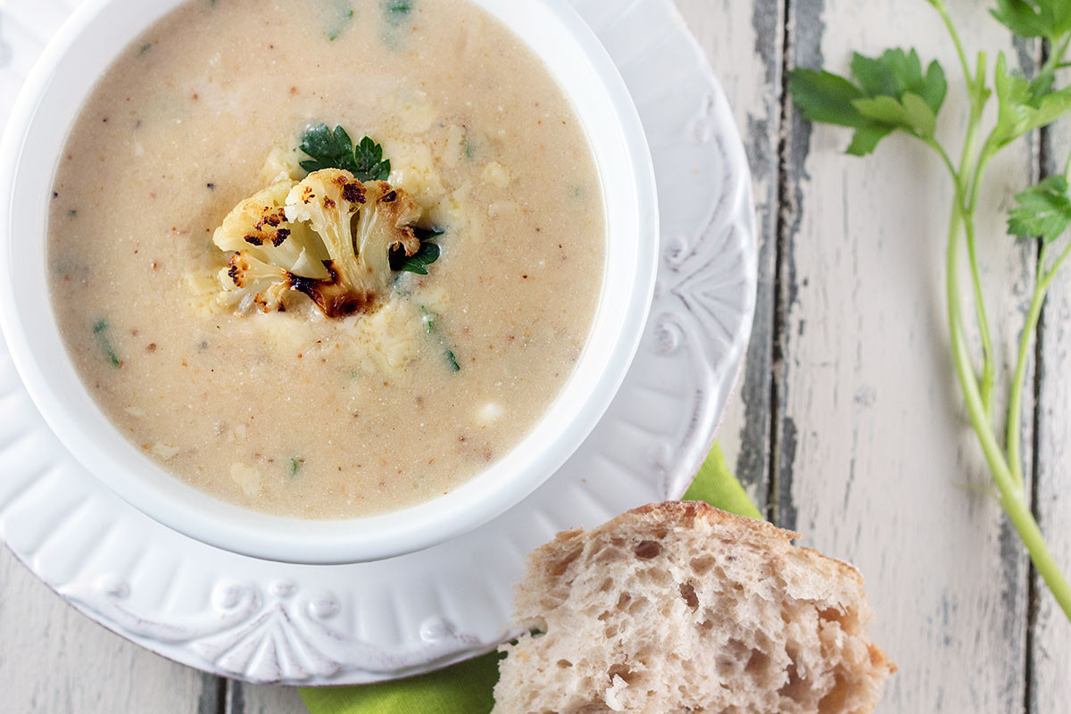 Roasted Cauliflower Soup  Roasted Cauliflower & White Cheddar Soup