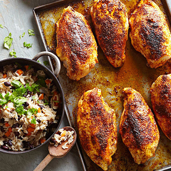 Roasted Chicken Breasts  Baked Chicken Breasts with Black Bean Rice Pilaf