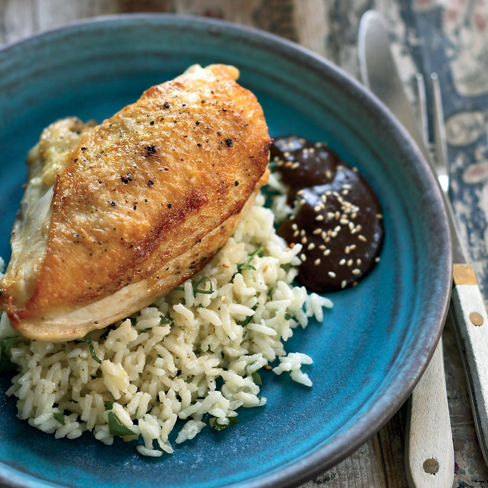 Roasted Chicken Breasts  Pan Roasted Chicken Breasts with Mole Negro Recipe