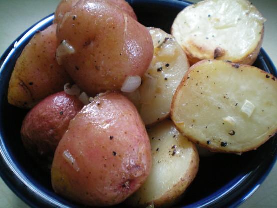 Roasted New Potatoes  Roasted New Potatoes With Red ions Recipe Genius Kitchen