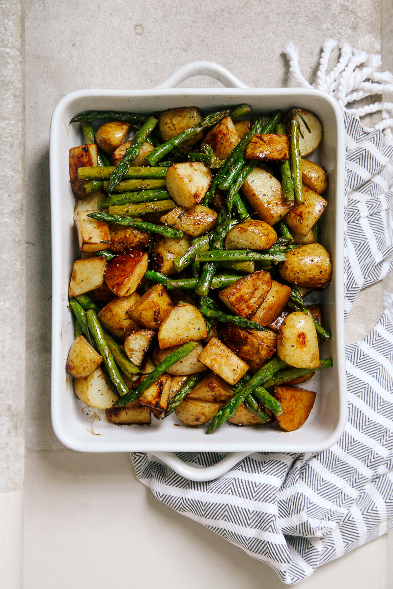 Roasted New Potatoes  Balsamic Roasted New Potatoes with Asparagus Wallflower