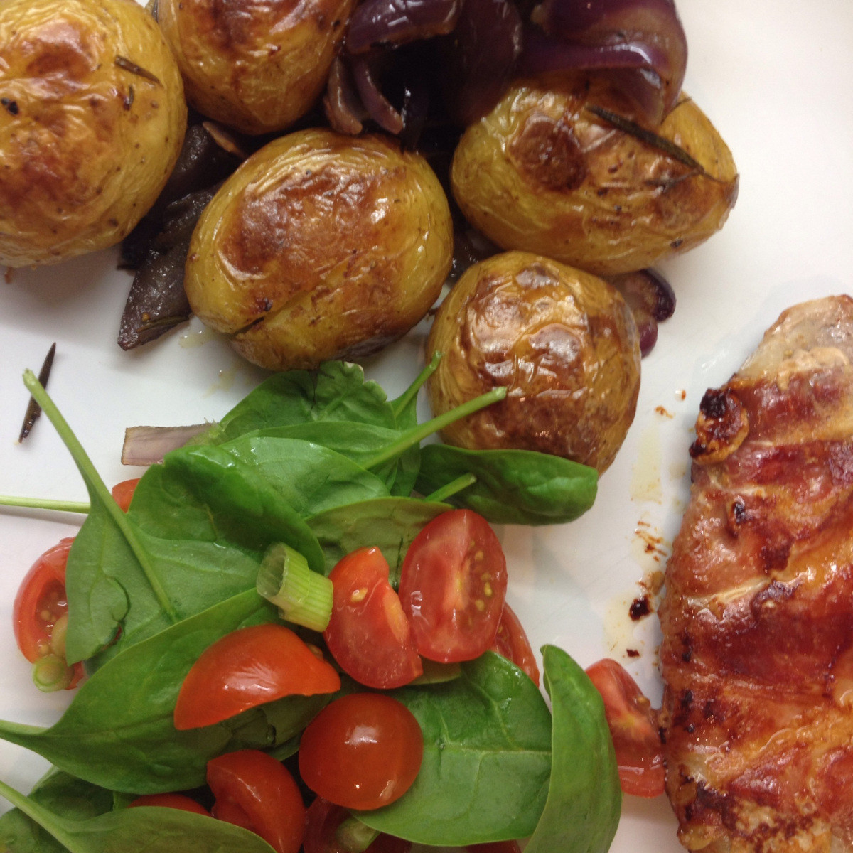 Roasted New Potatoes  Pork and mozzarella parcels ac panied by roasted new