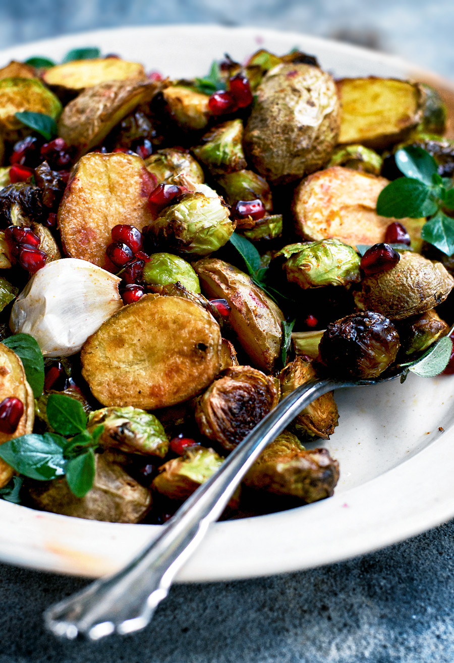 Roasted New Potatoes  Spicy Roasted New Potatoes and Brussels Sprouts