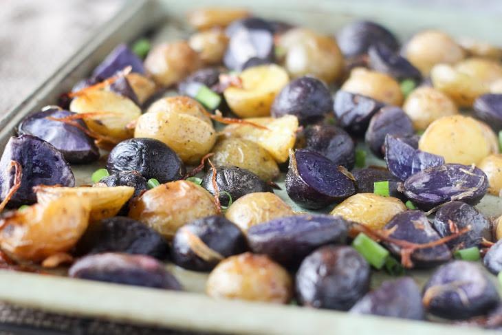 Roasted Purple Potatoes  Crispy Potatoes With Shallots Recipes — Dishmaps