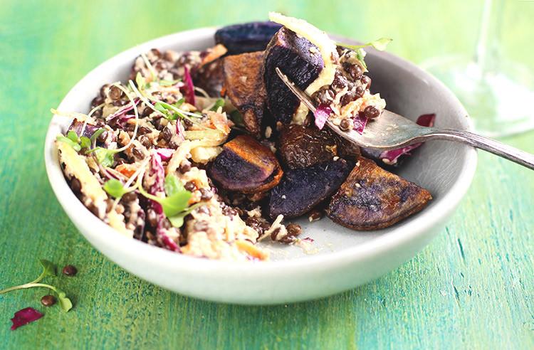 Roasted Purple Potatoes  Black Lentil Roasted Purple Potatoes Salad with Cilantro