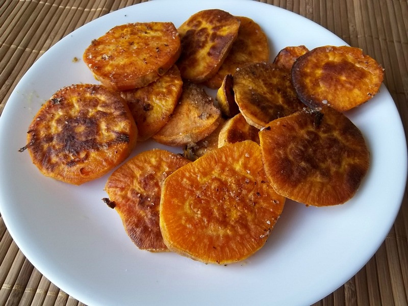 Roasted Sweet Potato Slices  Frugal Antics of a Harried Homemaker Roasted Sweet Potato