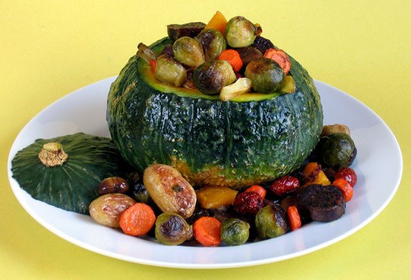 Roasted Vegetables Thanksgiving  Roasted Ve ables in a Kabocha Bowl Contest Winner