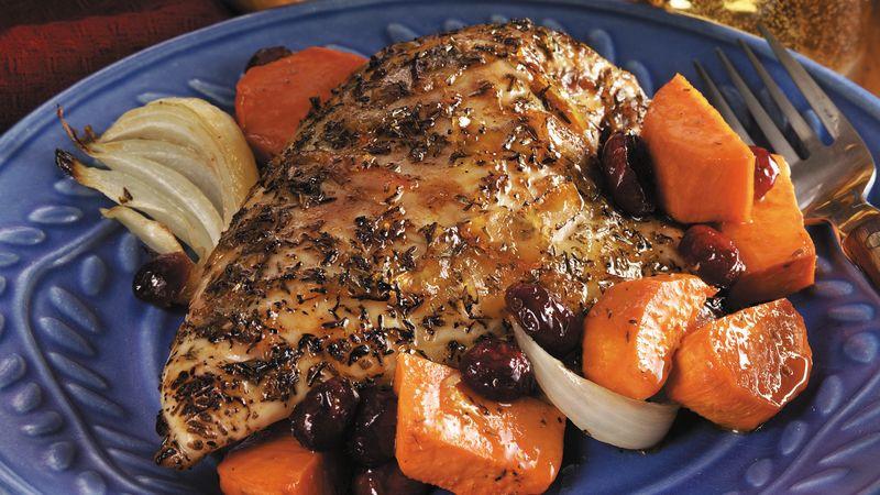 Roasting Chicken Breasts  Orange Glazed Roast Chicken Breasts with Sweet Potatoes