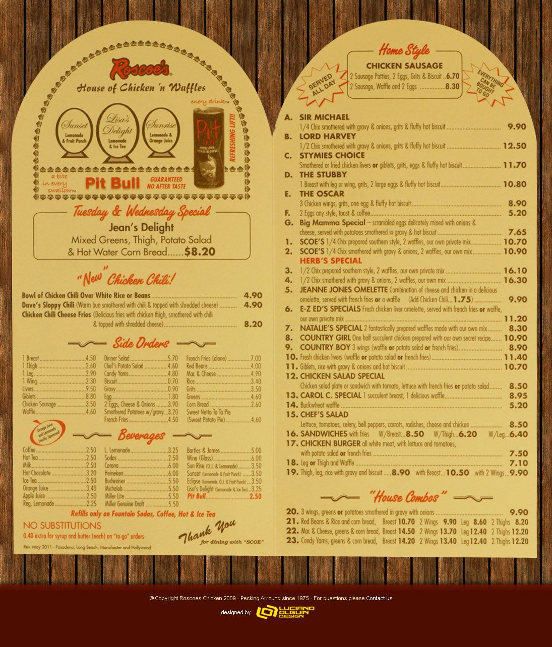 Roscoe'S Chicken And Waffles Menu  Roscoe s Chicken And Waffles Menu