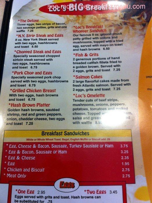 Roscoe'S Chicken And Waffles Menu  line Menu of Loc s Chicken & Waffles Restaurant