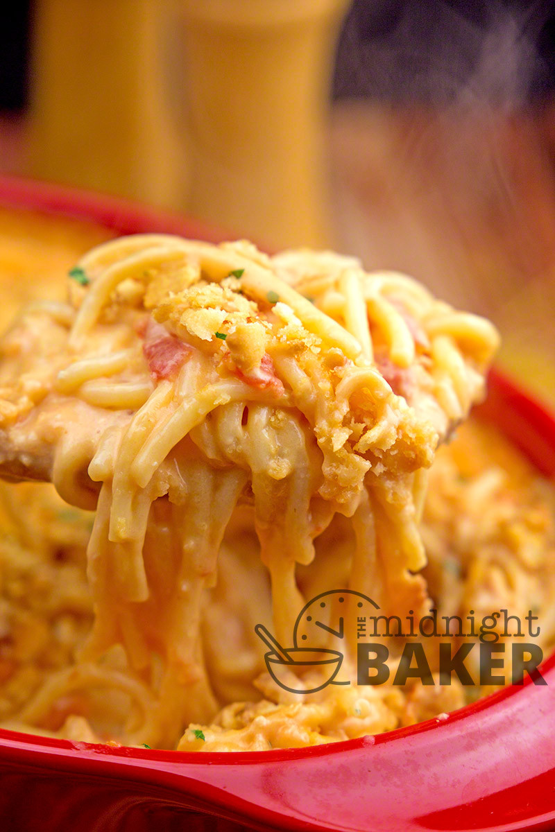 Rotel Chicken Spaghetti  Rotel Chicken Spaghetti Casserole The Midnight Baker