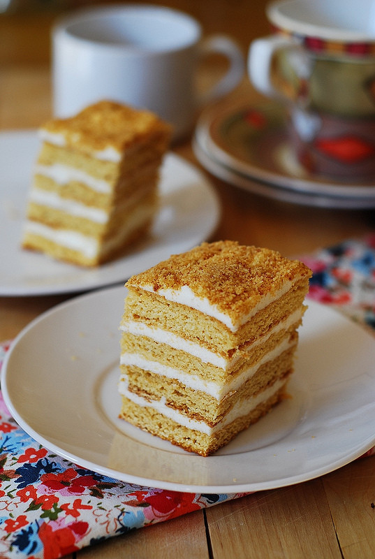 Russian Dessert Recipies  Russian Honey Cake with Cooked Flour Frosting Medovik
