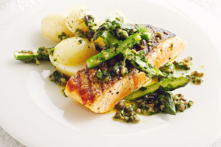 Salmon And Asparagus Recipe  Chargrilled salmon with asparagus in lime vinaigrette