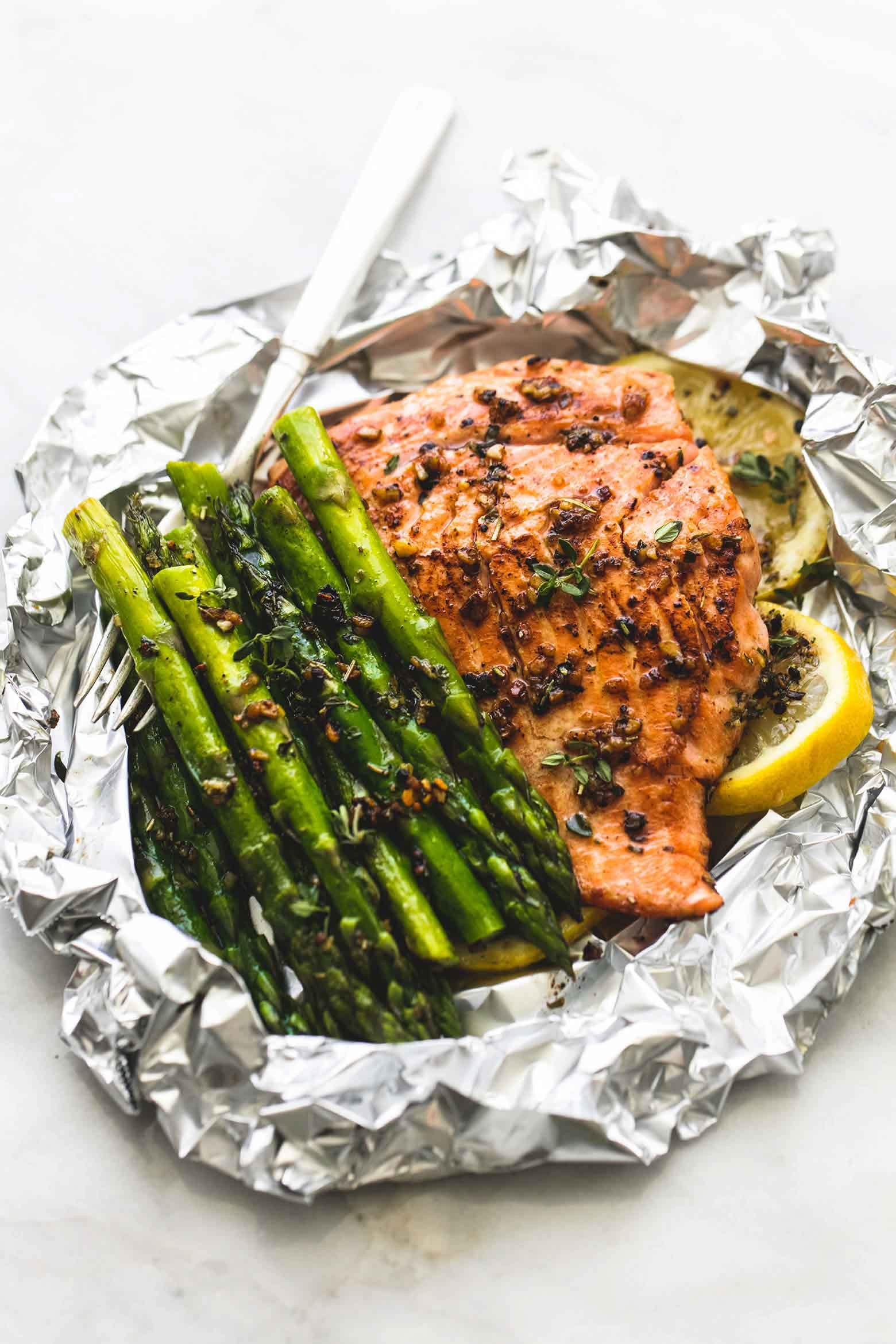 Salmon And Asparagus Recipe  Herb Butter Salmon and Asparagus Foil Packs