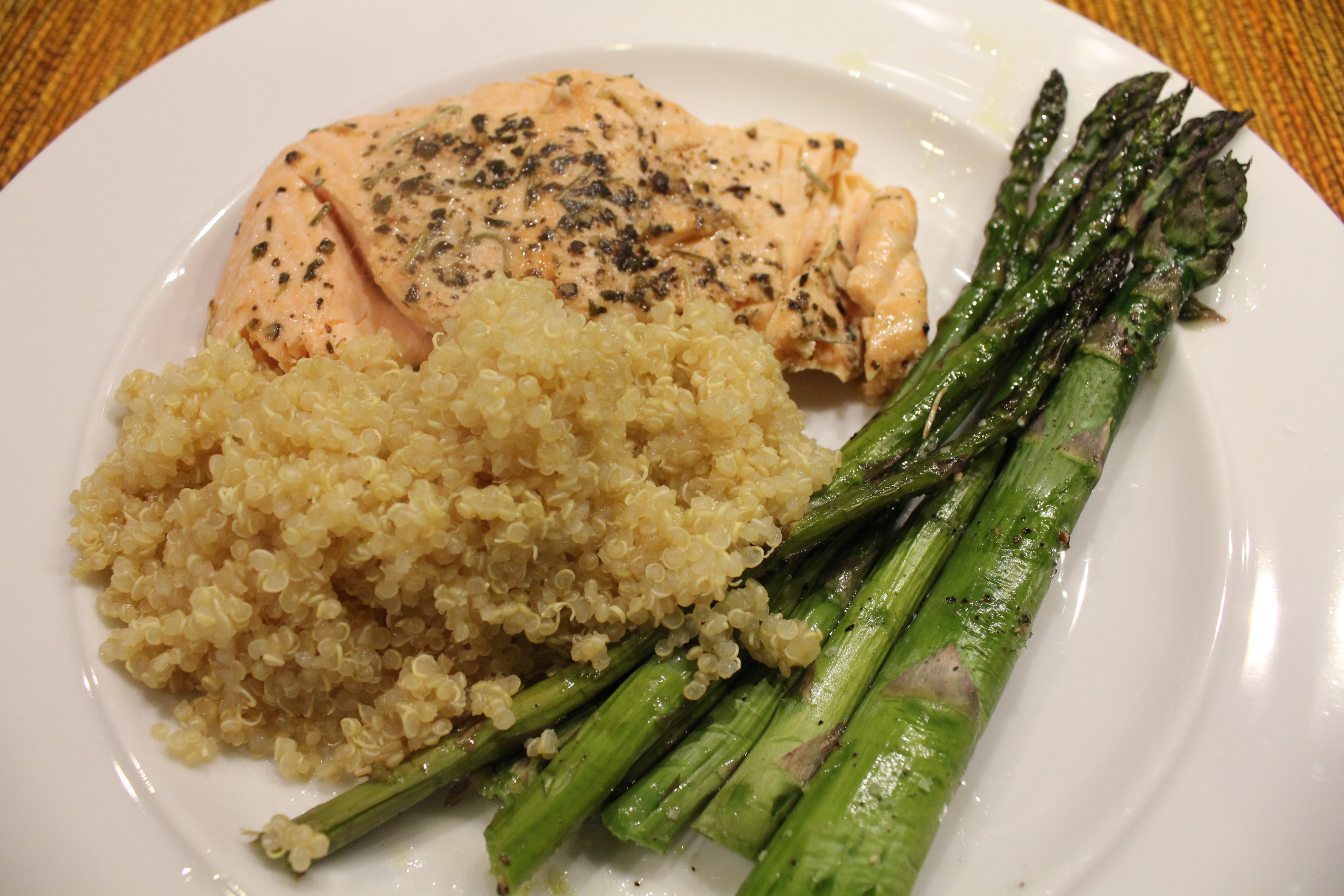 Salmon And Asparagus Recipe  Simple Quinoa Recipe served with salmon and asparagus