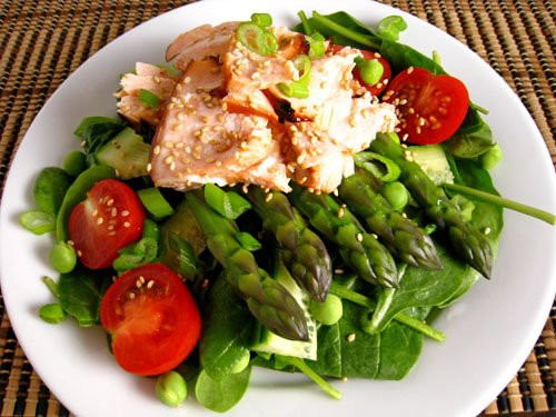 Salmon And Asparagus Recipe  Teriyaki Salmon and Asparagus Spinach Salad Recipe on