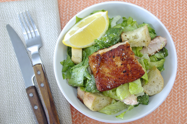 Salmon Caesar Salad  Salmon Caesar Salad with homemade dressing and garlic