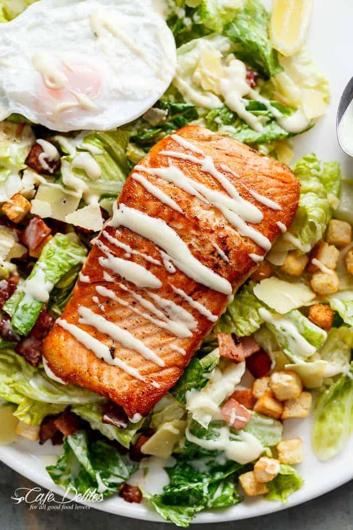 Salmon Caesar Salad  MEAL PLAN WEEK 5 Cafe Delites