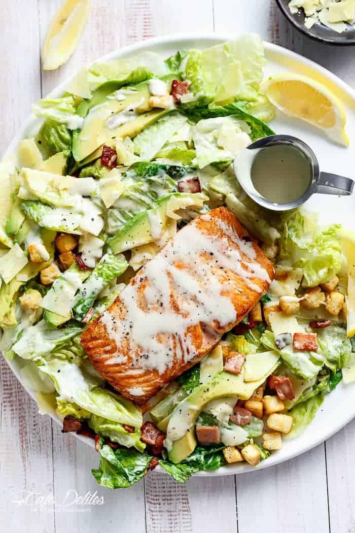 Salmon Caesar Salad  Salmon and Avocado Caesar Salad Cafe Delites