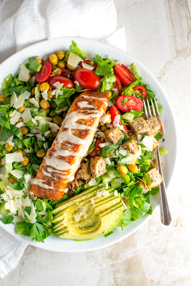 Salmon Caesar Salad  Salmon Caesar Salad Stuck Sweet
