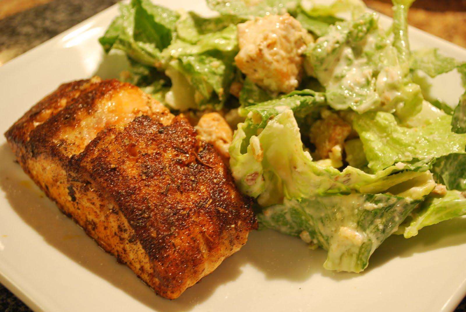 Salmon Caesar Salad  Cajun Salmon Caesar Salad