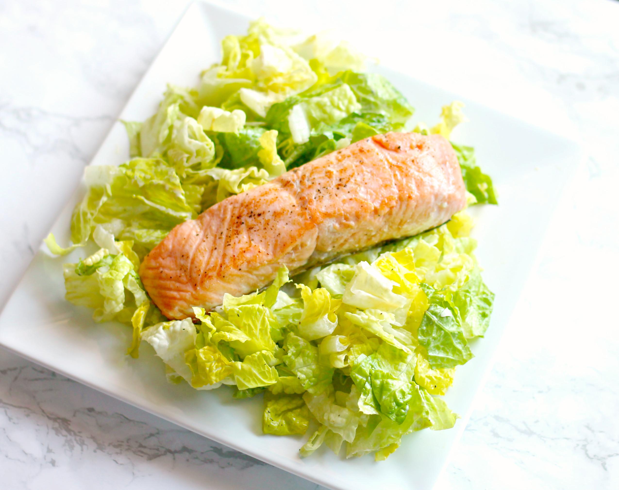 Salmon Caesar Salad  Salmon Caesar Salad for SundaySupper