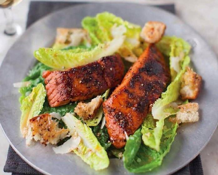 Salmon Caesar Salad  Caesar Salad With Blackened Salmon Recipe