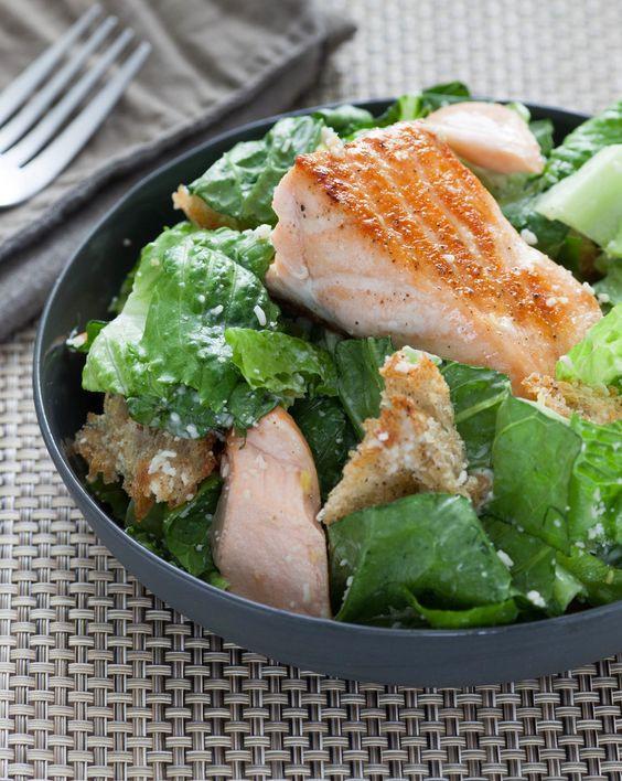 Salmon Caesar Salad  Salmon Caesar Salad with Homemade Sourdough Croutons