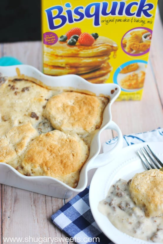 Sausage Gravy Breakfast Casserole  Sausage and Gravy Breakfast Casserole Shugary Sweets