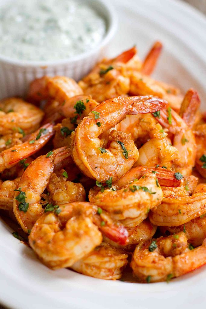 Seafood Appetizer Recipes  Chili Lime Shrimp Recipe with Cilantro Yogurt Sauce
