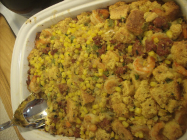 Seafood Cornbread Dressing  Sausage And Shrimp Cornbread Stuffing Casserole Recipe