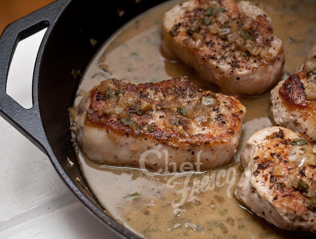 Seared Pork Chops  Pan Seared Pork Chops with Garlic Sage Butter Sauce